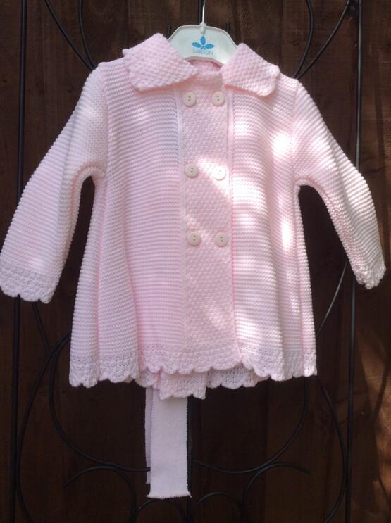 Sardon Pink  Knit Jacket with Bonnet
