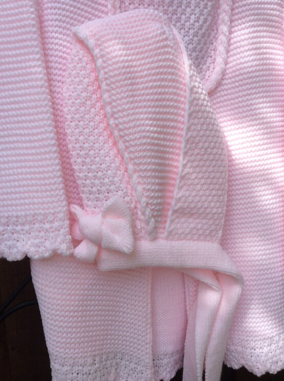 Spanish Knitted Pink Jacket by Sardon with Bonnet