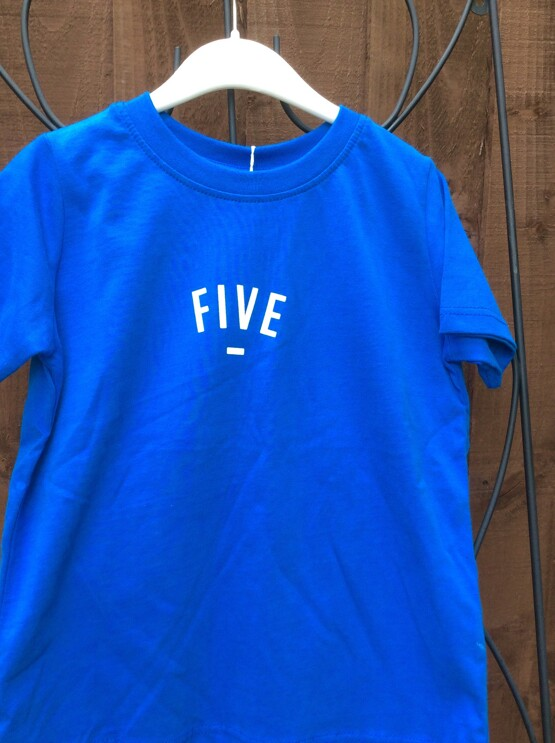 Bob & Blossom Blue FIVE Tee Shirt (Birthday Tee Shirt)
