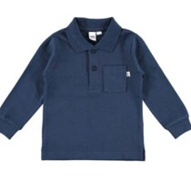 Navy Long Sleeve Tee with Collar from Italian Brand Ido