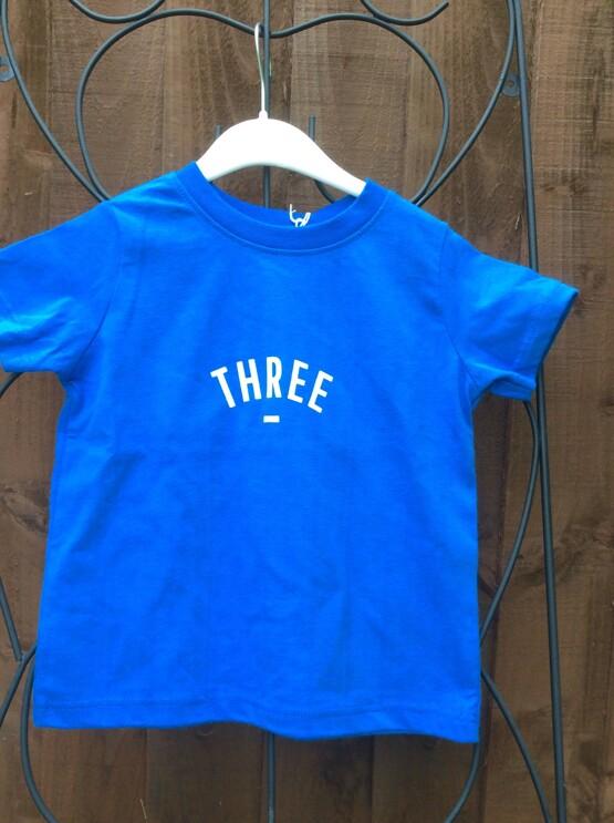 Bob & Blossom Blue THREE Tee Shirt (Birthday Tee Shirt)