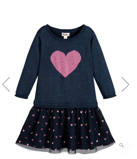 Glitter Heart Dropped waist Dress by Hatley