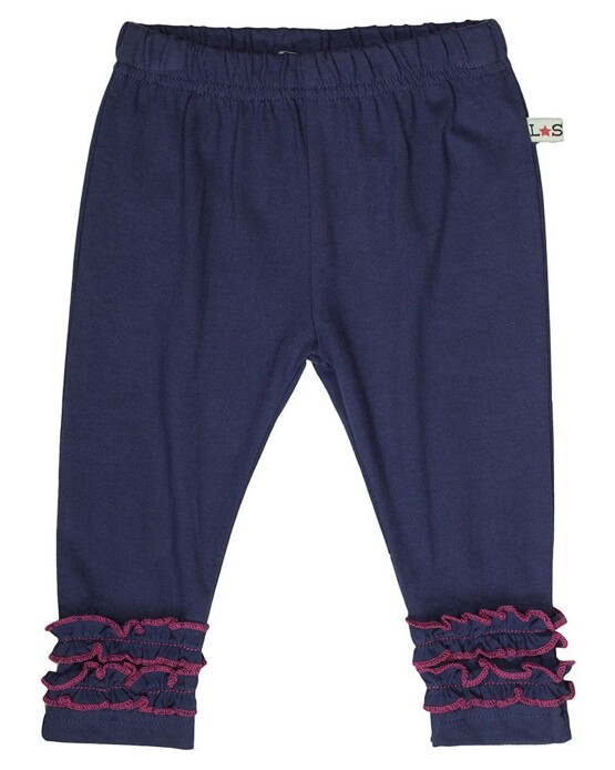 Lilly & Sid Navy leggings with Pink Ruffle Detail