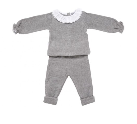 Babidu Baby 2 Piece Grey Set – Frill Collar