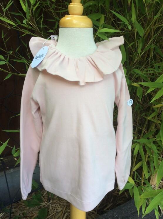 Babidu Frill Collar Long Sleeve Top – Dusky Pink