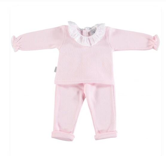 Babidu Baby 2 Piece Pink Set – Frill Collar