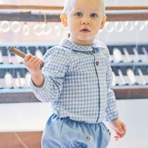 Babidu Baby Boys Blue Cotton Check Shirt and Shorts Set