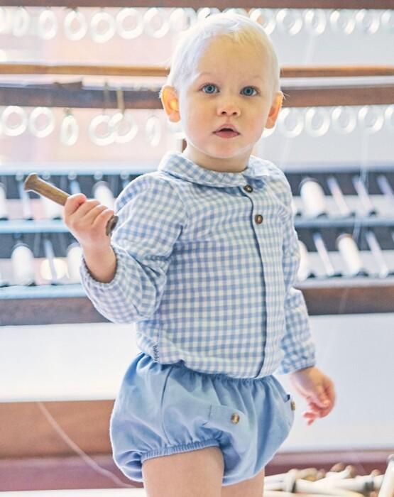 Babidu Baby Boys Blue Cotton Check Shirt and Shorts Set