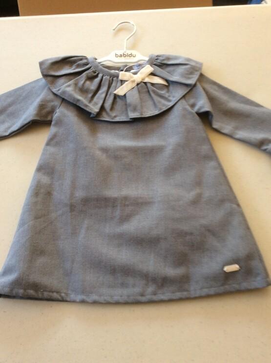 Babidu Frill Collar 3/4 Long Sleeve Blueish Grey Dress