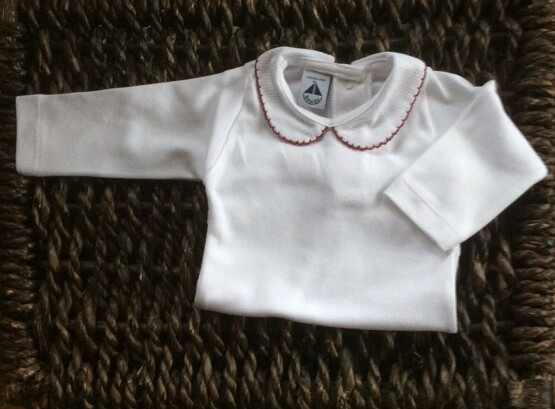 Babidu Peter Pan Collar Vest / Body – White with Burdeos (Maroon)