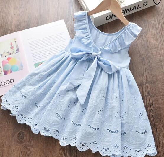Blue Frill Collar Summer Dress