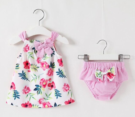 Pink Floral Summer Dress and Nappy Cover