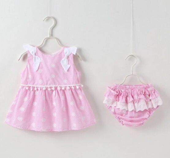 Pink Candy Striped Dress & Nappy Cover