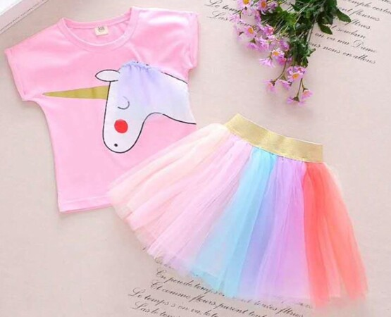 Pink Unicorn Skirt & Top – tulle striped skirt with Unicorn T